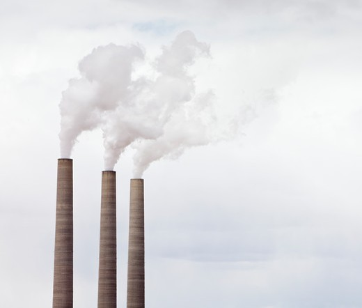 Smoke Coming From Three Smokestacks : Stock Photo