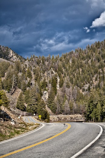 Montana, US, Roadway Through Mountains : Stock Photo