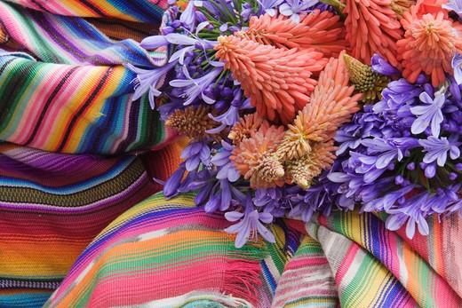 Chichicastenango, Guatemala, Flowers on a Colorful Tapestry : Stock Photo