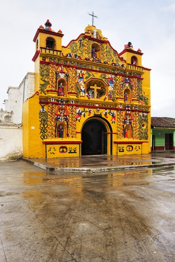 San Andres Xecul, Guatemala, Colorful Church of San Andres Xecul : Stock Photo