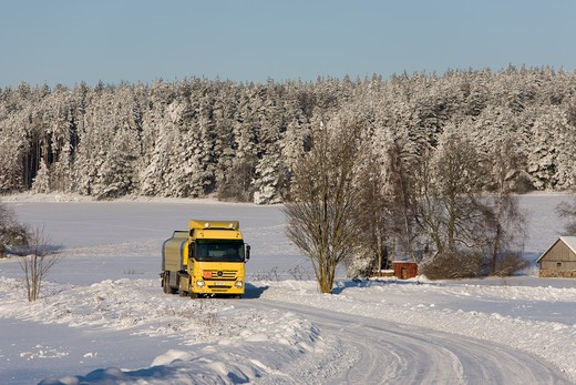 Yellow Fuel Tanker Truck : Stock Photo