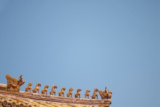 Rooftop Statues : Stock Photo