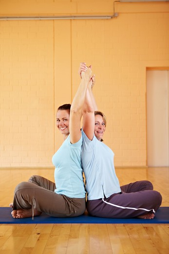 Two happy Best Ager doing back exercises in gym : Stock Photo