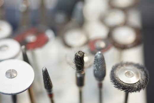 Stock Photo: 4232R-3804 Burs and polishers and drills in a dental lab