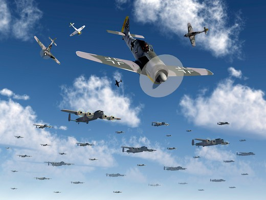 Stock Photo: 4239-1720 German Focke-Wulf 190 fighter aircraft attack British Lancaster bombers.