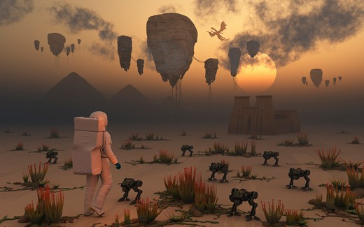 Stock Photo: 4239-1737 A lone astronaut confronts a surreal scene out of ancient Egypt, with ancient pyramids and a temple. Floating islands and dragon type creatures fill the skies as robotic droids walk through the desert sands.