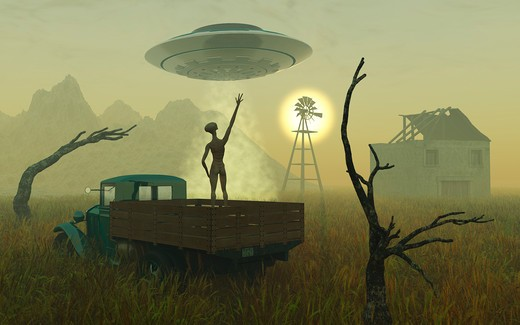 Stock Photo: 4239-1807 Artist's concept of alien exploreres looking around a remote, abandoned farm.