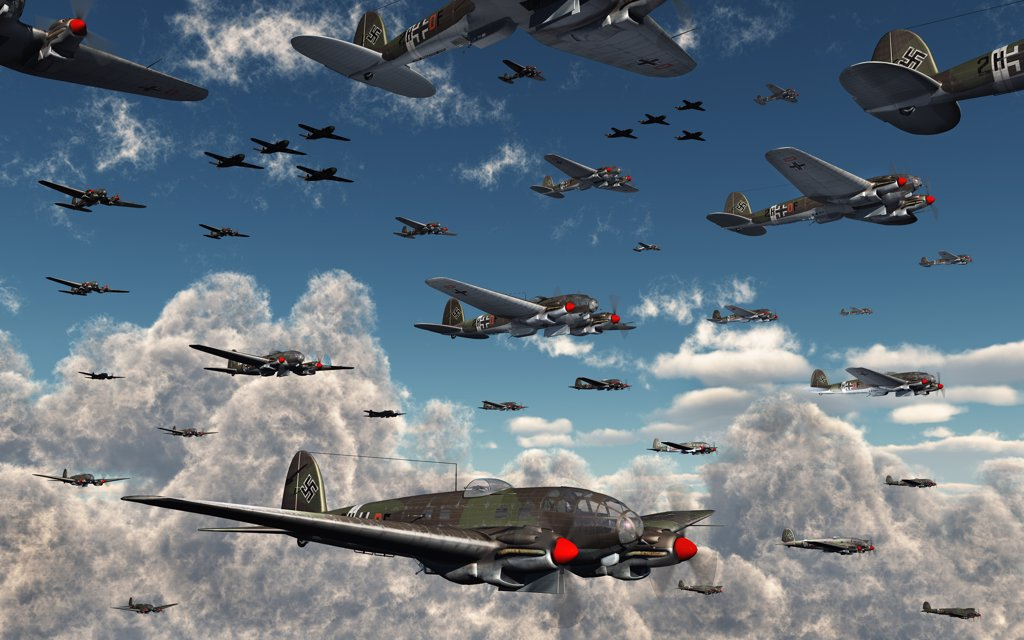 Stock Photo: 4239-625 German Heinkel He 111 bombers gather over the English Channel as they join forces with their fighter escorts, the Messerschmitt Bf 109