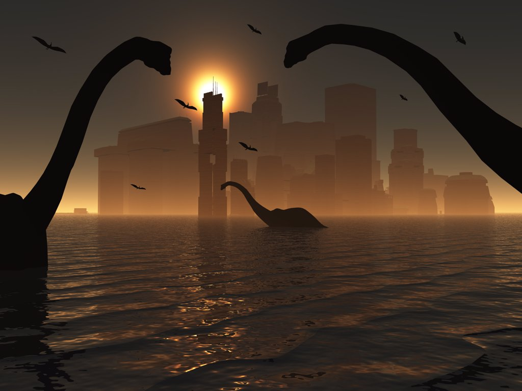 The famed lost city of Atlantis is seen illuminated by sunlight and co-existing with the dinosaurs : Stock Photo