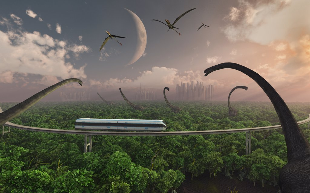 Artist's concept illustrating tourists taking a monorail ride through an Omeisaurus enclosure at a futuristic dinosaur park : Stock Photo