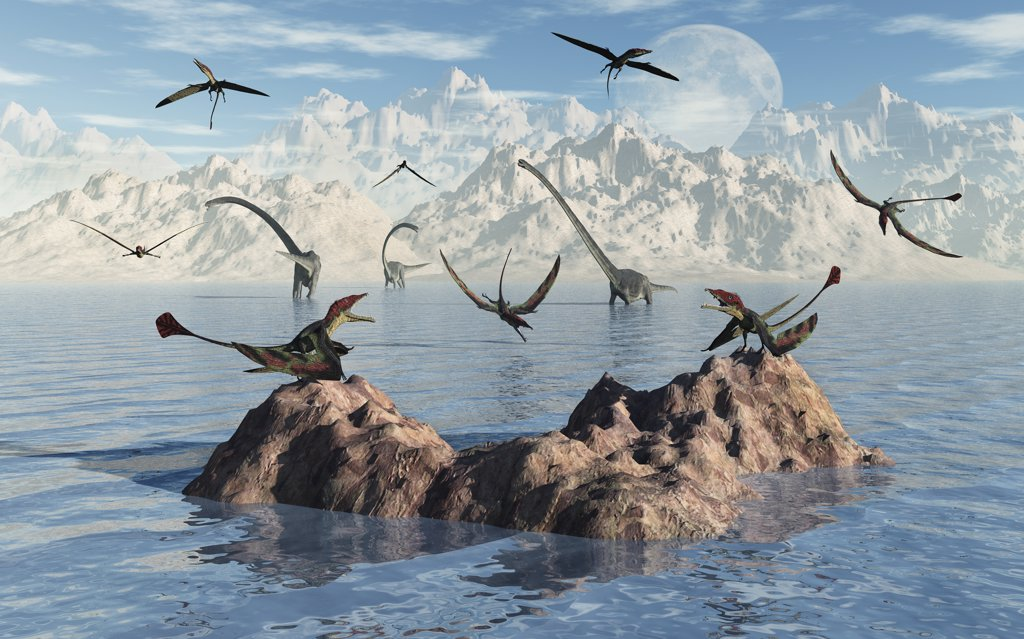 Stock Photo: 4239-660 Eudimorphodon's were pterosaurs of the late Triassic period