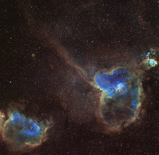 IC 1805 and IC 1848 Nebula, also known as the Heart and Soul Nebula : Stock Photo