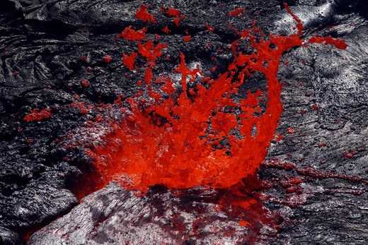 February 8, 2008 - Erta Ale fountaining lava lake, Danakil Depression, Ethiopia : Stock Photo