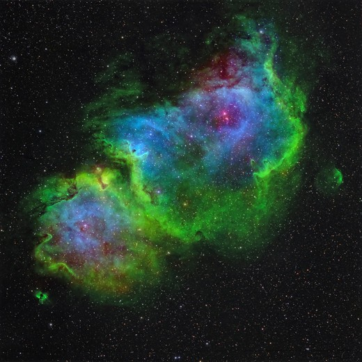Stock Photo: 4239R-1327 IC 1848, the Soul Nebula in Hubble-palette color mapping