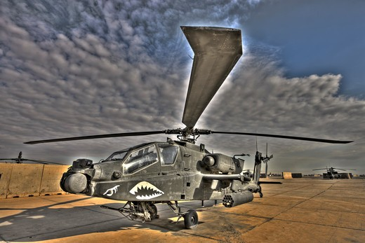 Stock Photo: 4239R-1480 High dynamic range image of a stationary AH-64D Apache Longbow Block III attack helicopter