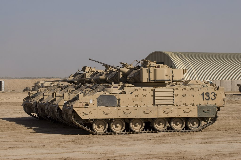 Stock Photo: 4239R-1543 Baqubah, Iraq - M2/M3 Bradley Fighting Vehicles