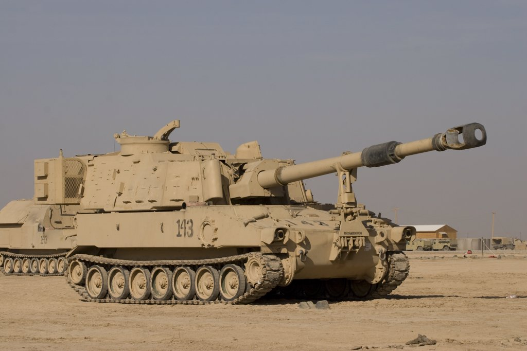 Stock Photo: 4239R-1544 Baqubah, Iraq - M109 Paladin, a self-propelled 155mm howitzer
