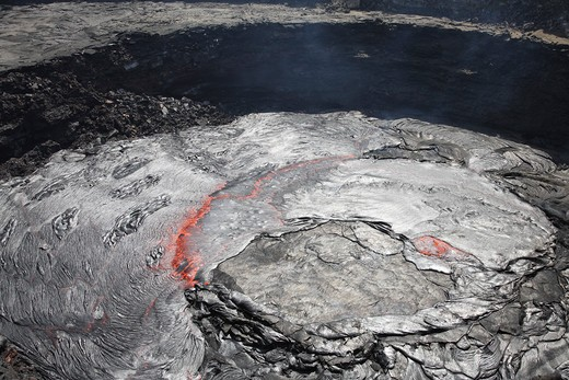 Stock Photo: 4239R-2104 February 8, 2008 - Overflowing lava lake in pit crater, Erta Ale volcano, Afar region, Danakil Depression, Ethiopia.