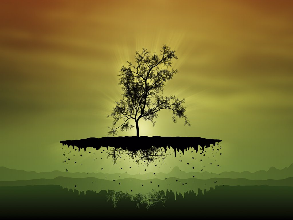 Digitally generated image of a flying tree : Stock Photo