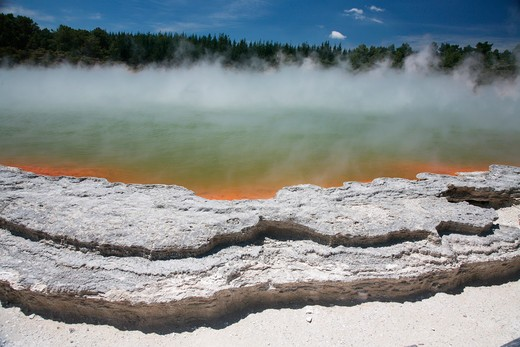 November 2007 - Champagne Pool hot spring, Wai-O-Tapu Geothermal area, Taupo Volcanic Zone, New Zealand. : Stock Photo