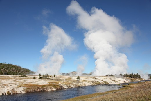 Stock Photo: 4239R-2335 September 12, 2009 - Steam rising over Midway Geyser Basin geothermal area, Yellowstone Caldera, Yellowstone National Park, Wyoming.