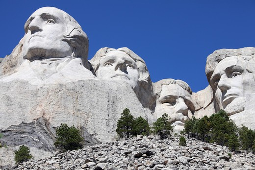 Stock Photo: 4239R-2365 Mount Rushmore National Memorial, South Dakota, USA.