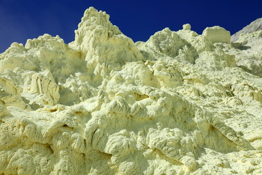 August 13, 2011 - Yellow sulphur deposits inside crater, Kawah Ijen volcano, Java, Indonesia. : Stock Photo