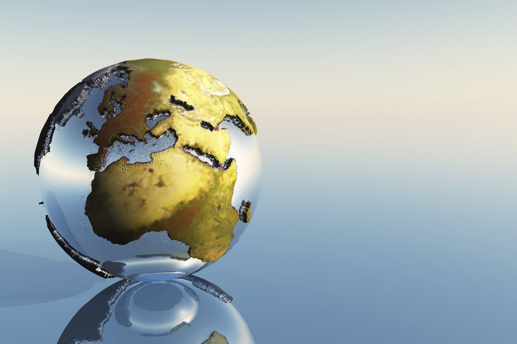 Stock Photo: 4239R-2493 A world globe showing the continents of Europe, Middle East and Africa.