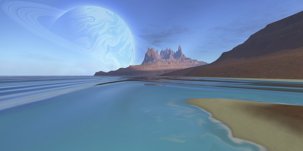 Stock Photo: 4239R-2596 Cosmic seascape on another planet.