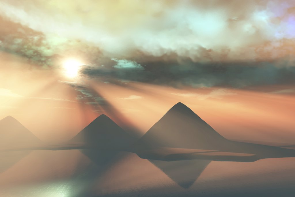 Stock Photo: 4239R-2610 Sunrays shine down on three pyramids along the Nile River on the Giza Plateau.