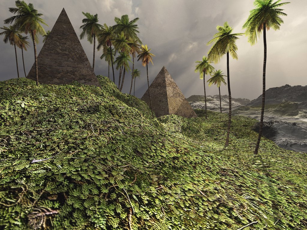 Stock Photo: 4239R-2672 Two pyramids sit majestically among the surrounding jungle.