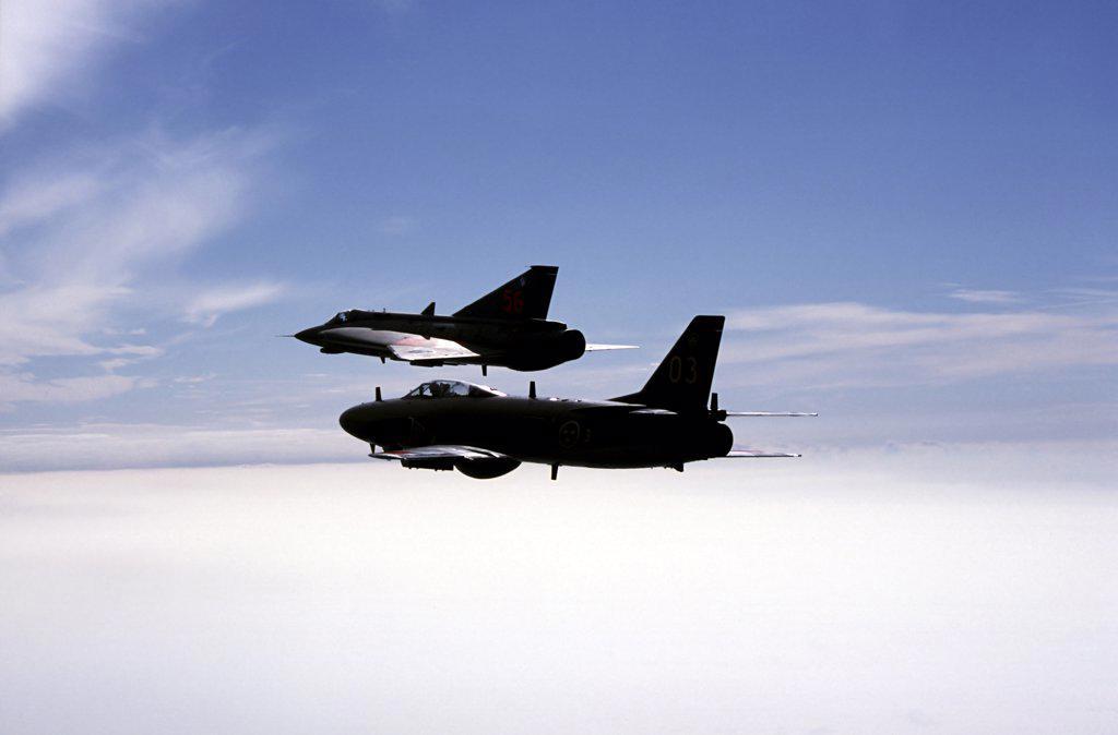 Saab J 32 Lansen and Saab 35 Draken fighters of the Swedish Air Force Historic Flight. : Stock Photo