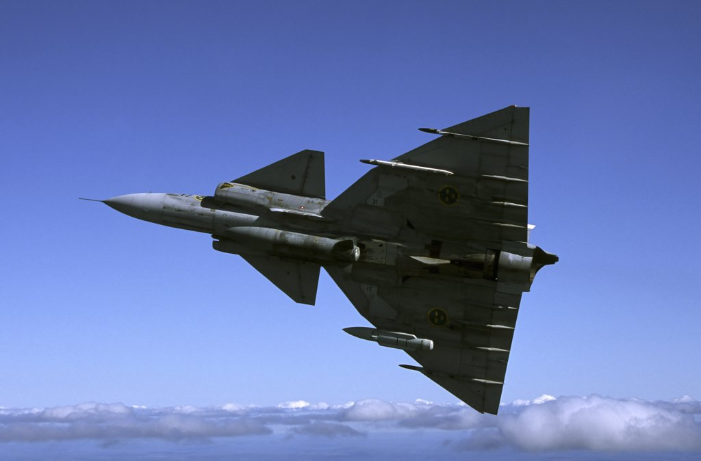 Saab JA 37 Viggen fighter of the Swedish Air Force. : Stock Photo