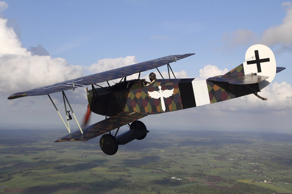 Sebbarp, Sweden - Fokker D.VII World War I replica fighter in the air. : Stock Photo