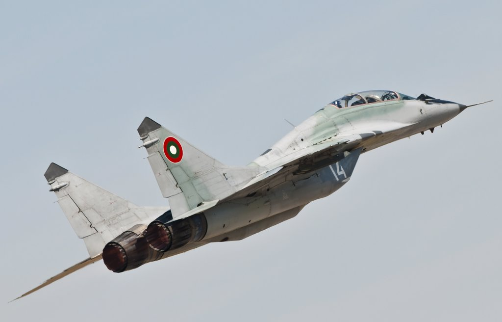 A MIG-29 of the Bulgarian Air Force takes off at the Izmir Air Show 2011 in Turkey. Bulgaria was present at the air show to celebrate the 100 years of the Turkish Air Force. : Stock Photo