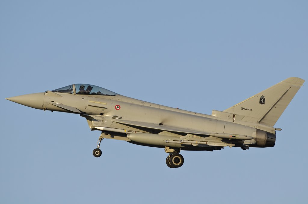 Stock Photo: 4239R-3001 An Italian Air Force Eurofighter Typhoon returns to Trapani Air Base, Sicily, after a civil air patrol mission over Libya during Operation Unified Protector.