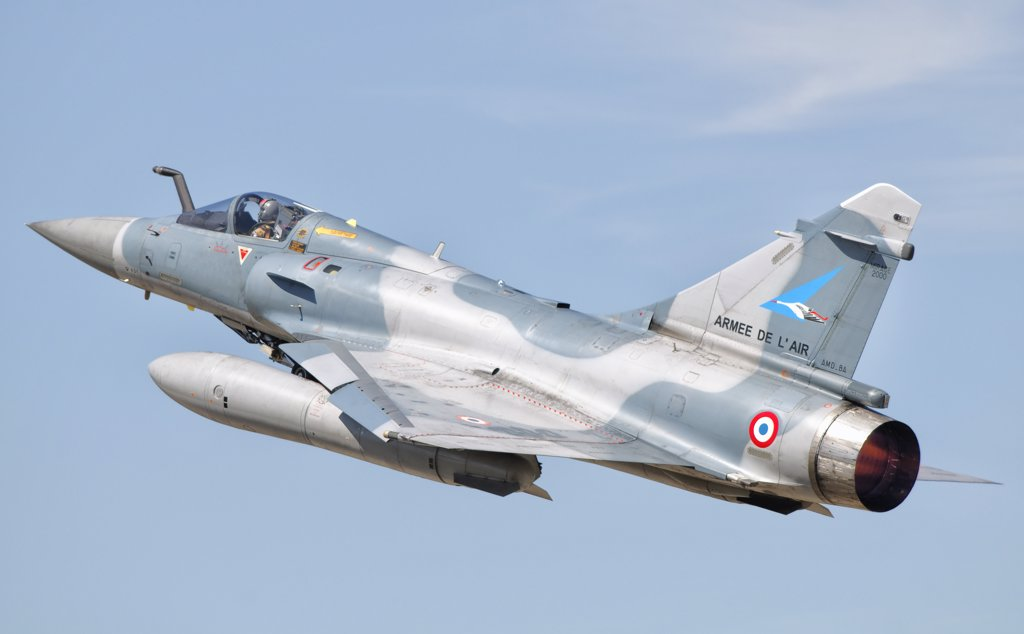 A Dassault Mirage 2000C of the French Air Force takes off from Orange Air Base, France, as part of Exercise Garuda IV. : Stock Photo