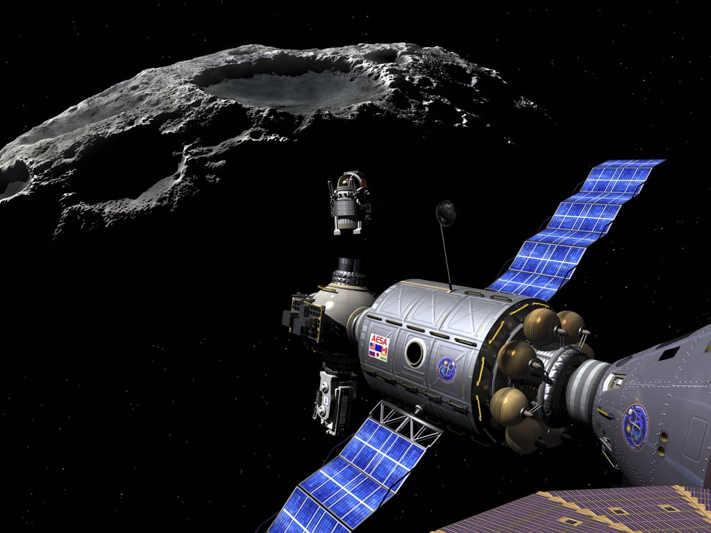 A Manned Maneuvering Vehicle (MMV) piloted by a single astronaut undocks from the main vessel and prepares to descend to the surface of a small asteroid. : Stock Photo
