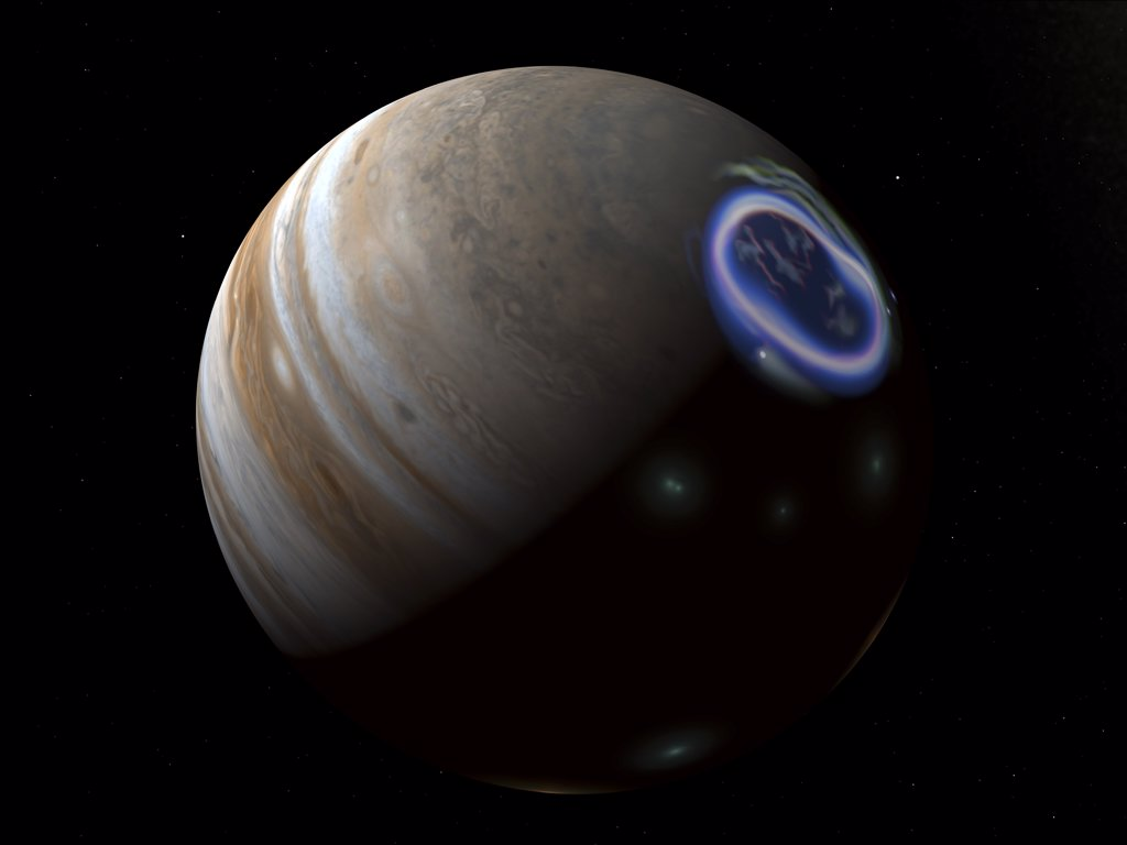 This is how auroras on Jupiter's north pole might look from a distance of about a quarter million miles. : Stock Photo