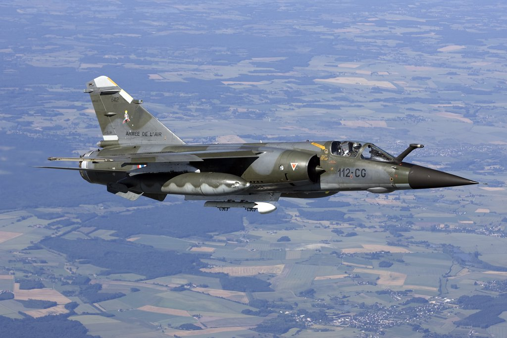 Stock Photo: 4239R-3650 June 12, 2009 - Mirage F1CR of the French Air Force over France, east of the city of Tours. The Mirage F1CR is a dedicated reconnaissance fighter plane that also have secondary air-to-ground and air-to-air task.