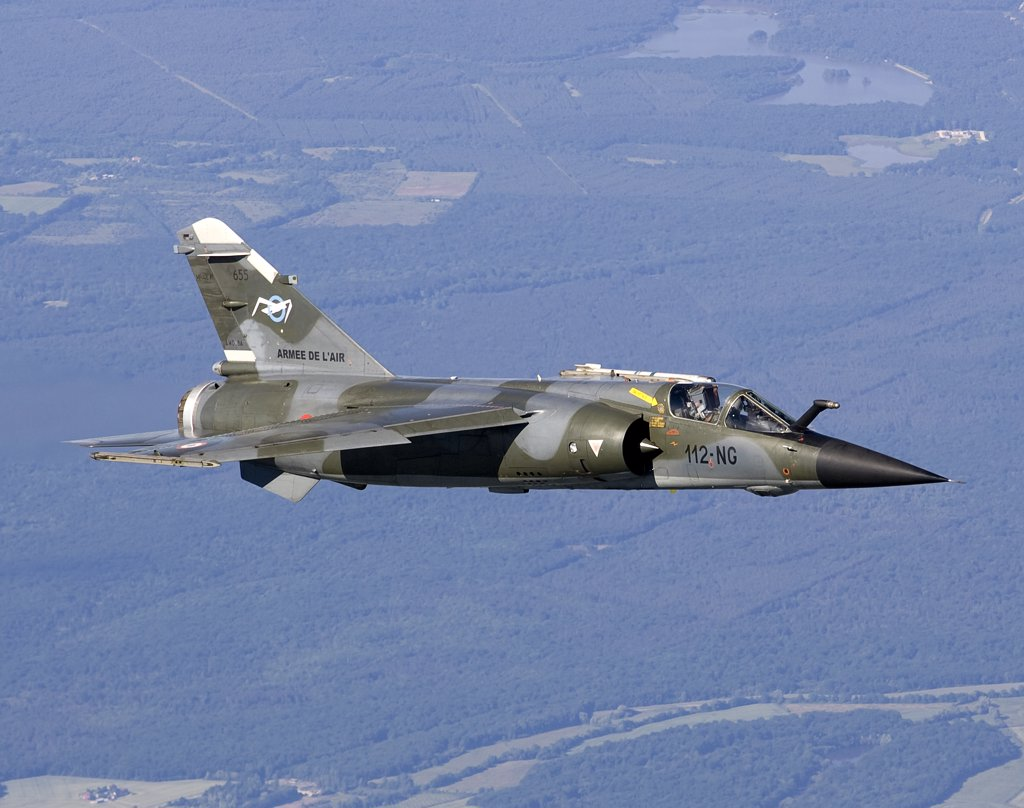 Stock Photo: 4239R-3651 June 12, 2009 - Mirage F1CR of the French Air Force over France, east of the city of Tours. The Mirage F1CR is a dedicated reconnaissance fighter plane that also have secondary air-to-ground and air-to-air task.