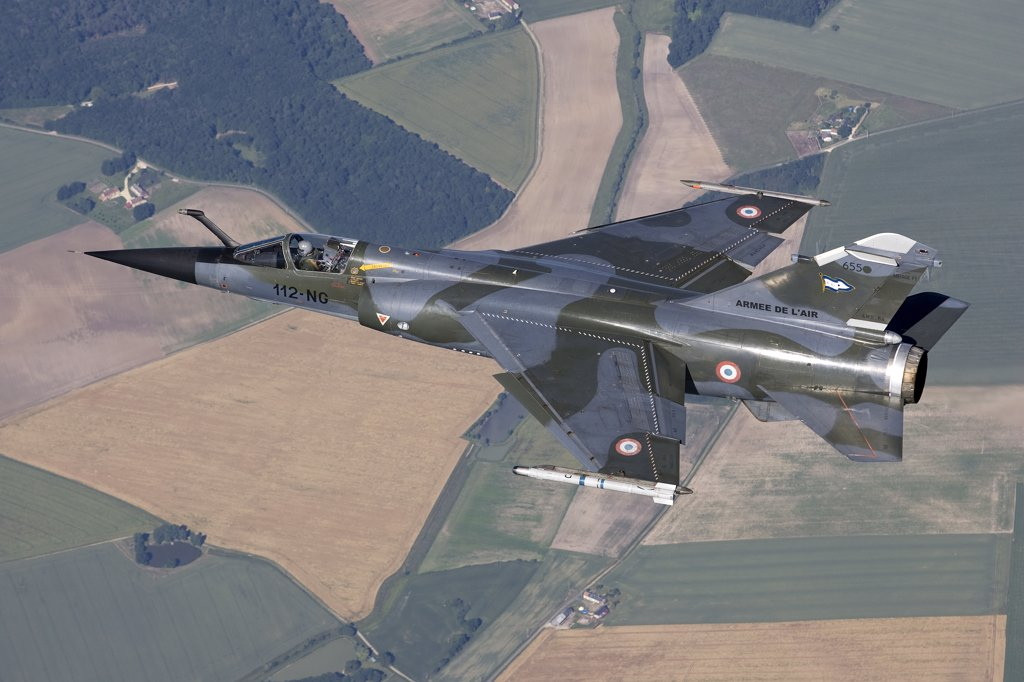 June 12, 2009 - Mirage F1CR of the French Air Force over France, east of the city of Tours. The Mirage F1CR is a dedicated reconnaissance fighter plane that also have secondary air-to-ground and air-to-air task. : Stock Photo