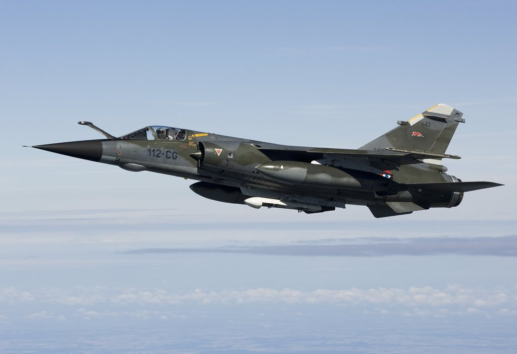 Stock Photo: 4239R-3674 June 12, 2009 - Mirage F1CR of the French Air Force over France, east of the city of Tours. The Mirage F1CR is a dedicated reconnaissance fighter plane that also have secondary air-to-ground and air-to-air task.