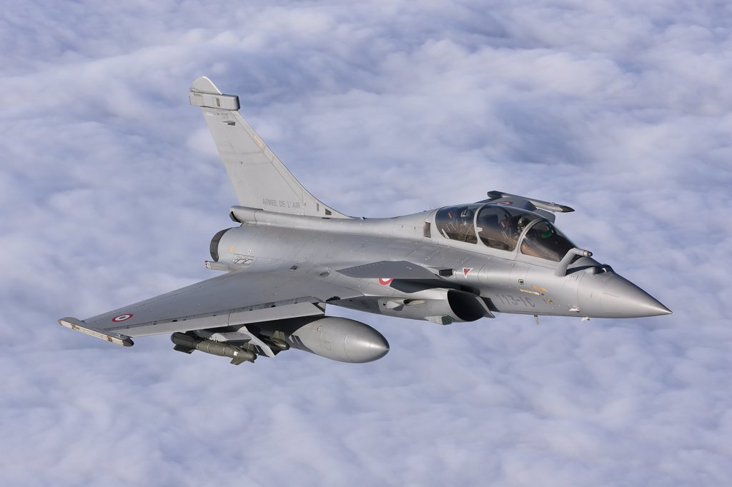 Stock Photo: 4239R-3675 January 18, 2010 - Dassault Rafale B of the French Air Force off the Normandy coast. These Rafales carry AASM Hammer bombs.