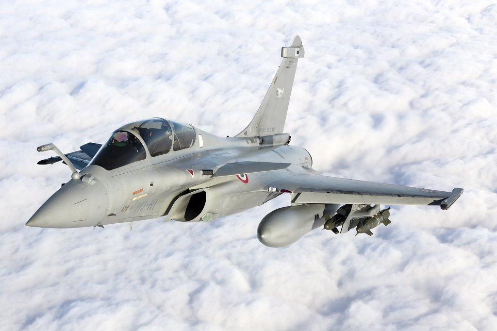 Stock Photo: 4239R-3678 January 18, 2010 - Dassault Rafale B of the French Air Force off the Normandy coast. These Rafales carry AASM Hammer bombs.
