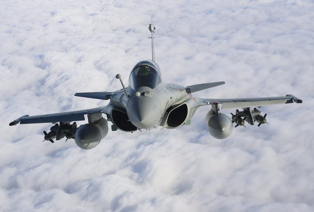 Stock Photo: 4239R-3679 January 18, 2010 - Dassault Rafale B of the French Air Force off the Normandy coast. These Rafales carry AASM Hammer bombs.