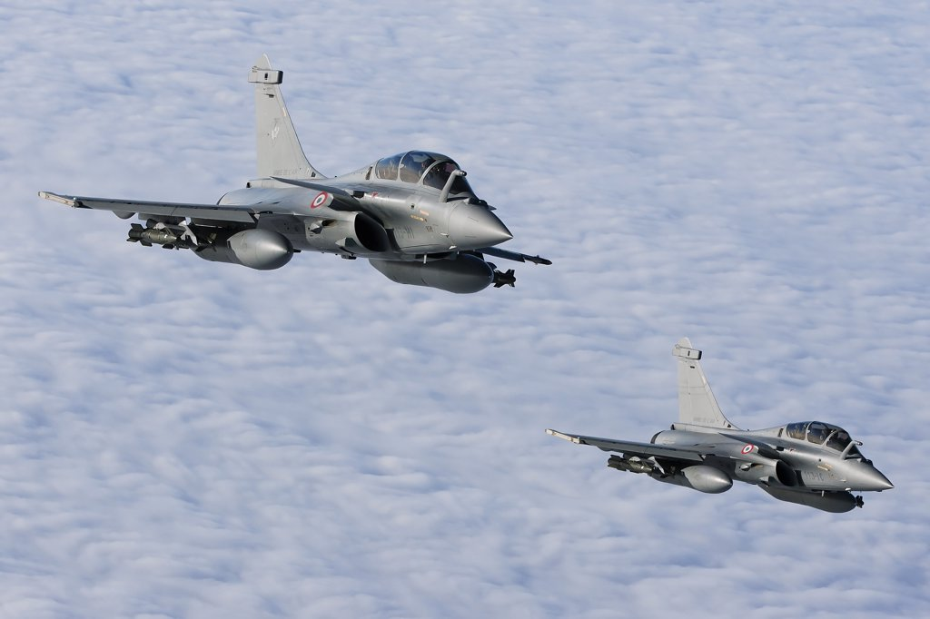 Stock Photo: 4239R-3683 January 18, 2010 - Dassault Rafale B of the French Air Force off the Normandy coast. These Rafales carry AASM Hammer bombs.