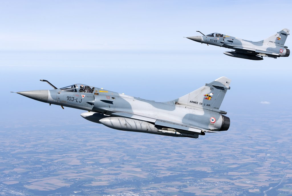 Stock Photo: 4239R-3693 September 2, 2010 - Mirage 2000C of the French Air Force off the Normandy coast in France during dissimilar air combat training with the French Navy.