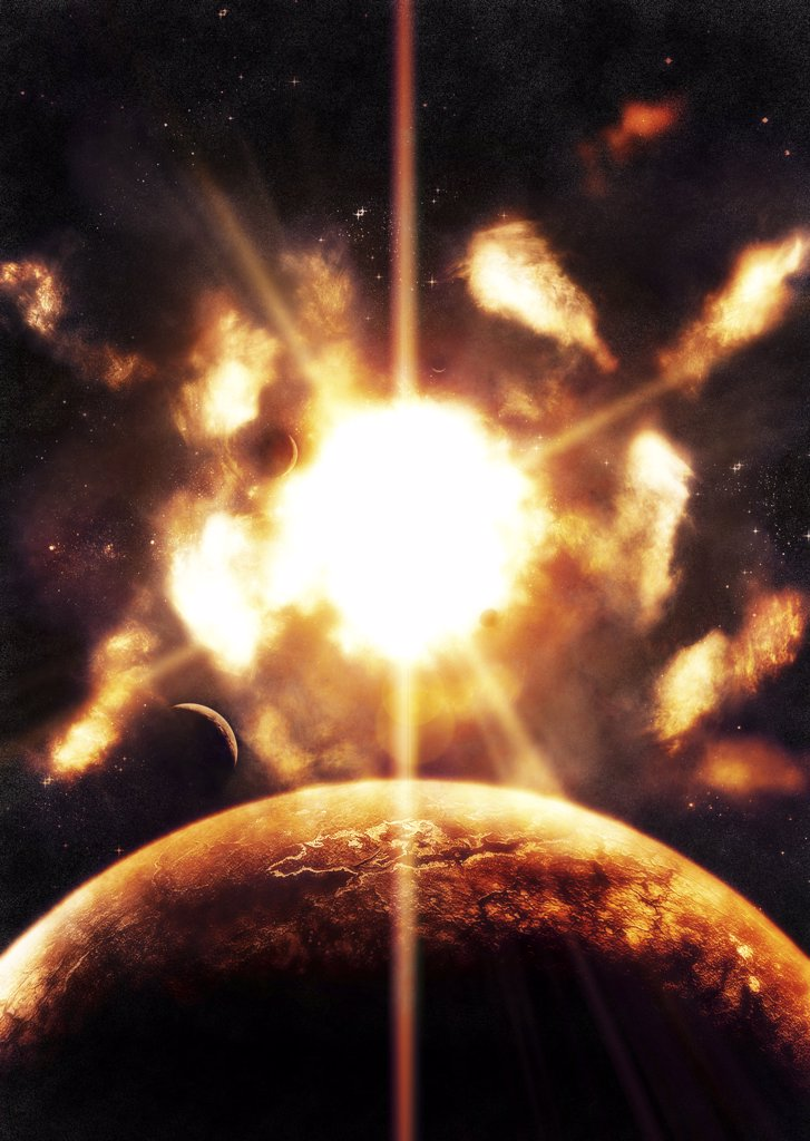 Stock Photo: 4239R-473 Last moment on Earth as our Sun exploded just seconds ago