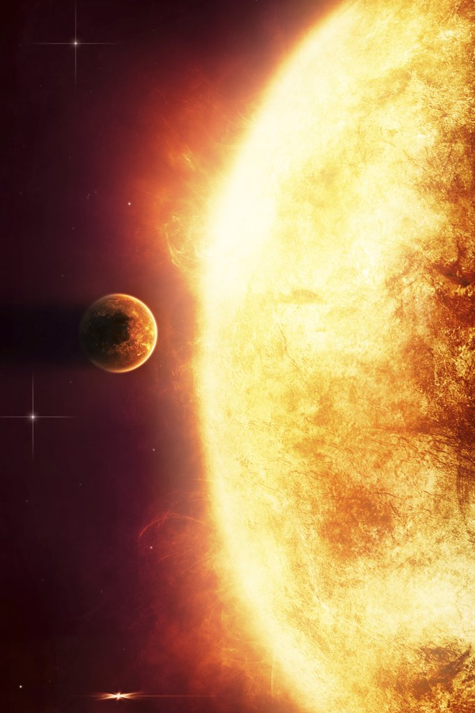 Stock Photo: 4239R-484 Growing Sun is about to burn nearby planet alive